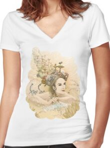 Animal princess Women's Fitted V-Neck T-Shirt