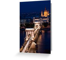 Chain Bridge and the Danube by Night Greeting Card