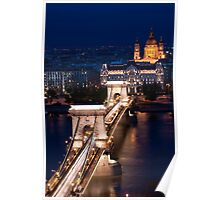 Chain Bridge and the Danube by Night Poster