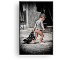 Just Walking The Dog Canvas Print