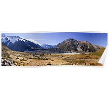 Mueller Lateral Moraines and Mt Cook (in the background) Poster
