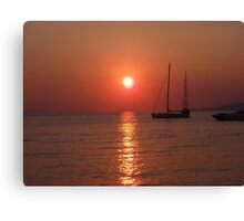 sunset at Myconos summer 2010 Canvas Print