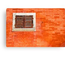 Window on orange wall Canvas Print
