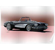 1958 Chevrolet Corvette 'Retro' Convertible Poster