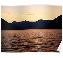 Bay Surrounded by Mountains - Red Sunset Poster