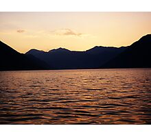 Bay Surrounded by Mountains - Red Sunset Photographic Print