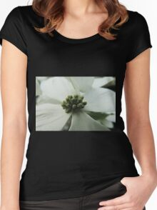 "White ""Dogwood"" or ""Cornus"" Women's Fitted Scoop T-Shirt"