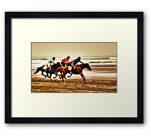 """""""The Race Is On..18th Running Of The Karekare Beach Races"""" Framed Print"""