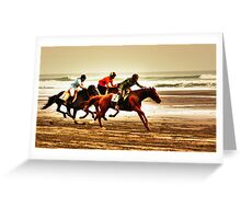 """""""The Race Is On..18th Running Of The Karekare Beach Races"""" Greeting Card"""