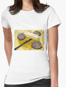 Melted Margerine and Three Blue Stiped Biscuits Womens Fitted T-Shirt