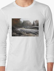 Whiskey River - Foggy Fall Waterscape Long Sleeve T-Shirt