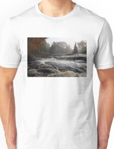 Whiskey River - Foggy Fall Waterscape Unisex T-Shirt