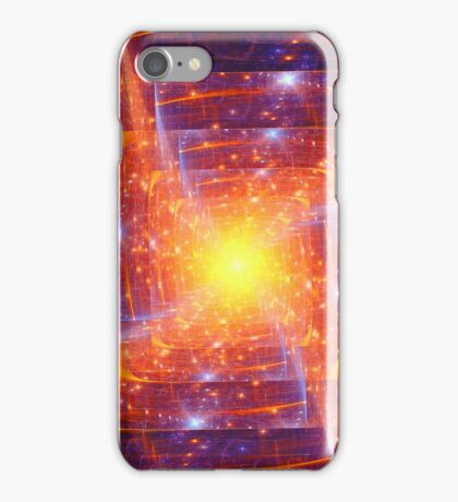 Abstract fantasy square tunnel with yellow and purple lines iPhone Case/Skin