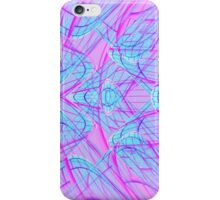 Abstract blue light lines on pink iPhone Case/Skin