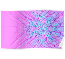 Abstract blue light lines on pink Poster
