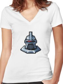 Pixel Cylon with collar Women's Fitted V-Neck T-Shirt