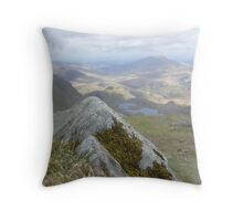 Close Up Rock, Far Away Mountain Throw Pillow