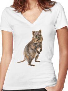 Cute little quokka Women's Fitted V-Neck T-Shirt