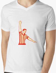 Basketball Referee Stop Clock Foul Retro Mens V-Neck T-Shirt
