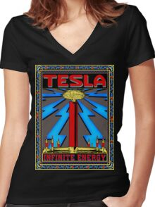 TESLA COIL - INFINITE ENERGY Women's Fitted V-Neck T-Shirt