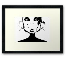 Girl with big ears and two moles Framed Print
