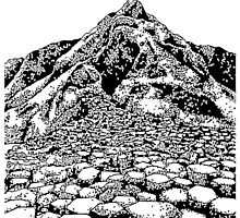The Giants Causeway, Ireland. Ink Illustration by bblane