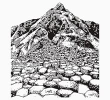 The Giants Causeway, Ireland. Ink Illustration Kids Tee