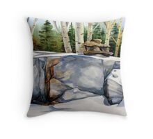 Inukshuk and Poplars Throw Pillow