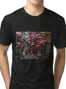 Merry Christmas - Snow covered Red Berries  Tri-blend T-Shirt