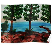 Looking out at Tahoe from Balcony #1, Series, watercolor Poster