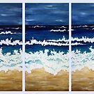 'BEFORE THE STORM' tryptych acrylic textured seascape by Lisa Frances Judd ~ Original Australian Art