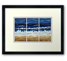 'BEFORE THE STORM' tryptych acrylic textured seascape Framed Print
