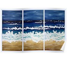 'BEFORE THE STORM' tryptych acrylic textured seascape Poster