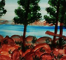 Looking out from Balcony onto Lake Tahoe #3, Series, watercolor by Anna  Lewis