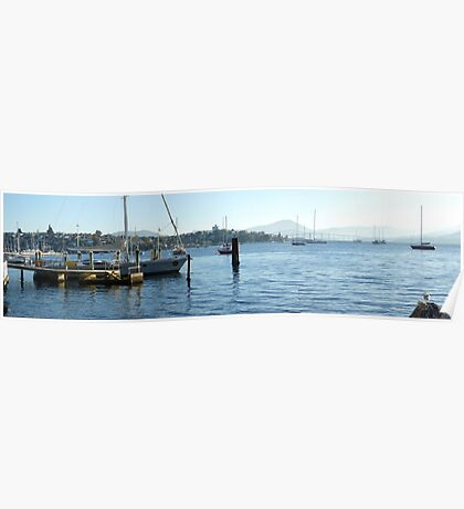 Early morning marina in Hobart Derwent River - panorama   Poster