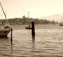 Early morning marina in Hobart Derwent River  -panorama-  sepia by lighthousecove
