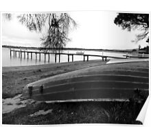 Old boat and Jetty -Tamar Valley    B&W Poster