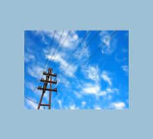 Upward view on power lines and electric pole Unisex T-Shirt