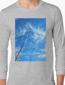 Boom of the crane on a diagonal against a blue sky  Long Sleeve T-Shirt