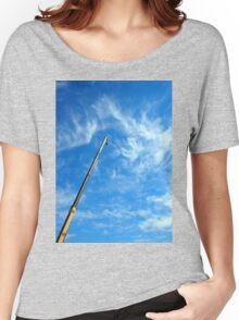 Boom of the crane on a diagonal against a blue sky  Women's Relaxed Fit T-Shirt