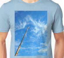 Boom of the crane on a diagonal against a blue sky  Unisex T-Shirt