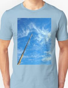Boom of the crane on a diagonal against a blue sky  T-Shirt
