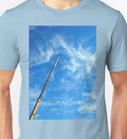 Boom of the crane on a diagonal against a blue sky  Unisex T-Shirt