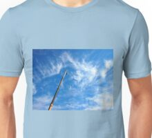 The boom of the crane on a diagonal against a blue sky Unisex T-Shirt