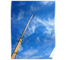 The boom of the crane on a diagonal against a blue sky  Poster