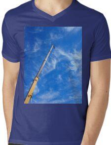 The boom of the crane on a diagonal against a blue sky  Mens V-Neck T-Shirt