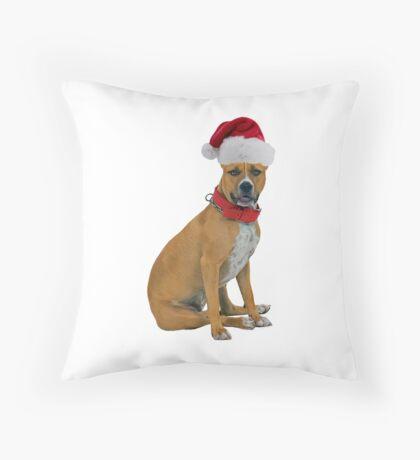 Staffordshire Bull Terrier Christmas Throw Pillow