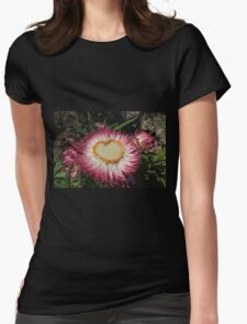 """Heart """"Paper Daisy"""" Womens Fitted T-Shirt"""