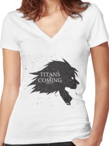 Titans are Coming.. Women's Fitted V-Neck T-Shirt