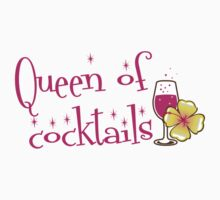 Queen of cocktails with cute tropical flower drinks Kids Tee